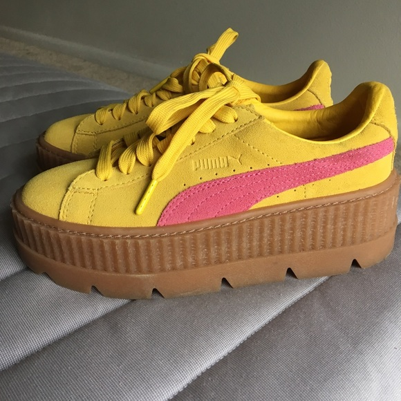 online store befcd 3b19a Fenty Puma by Rihanna Yellow Platform Creepers